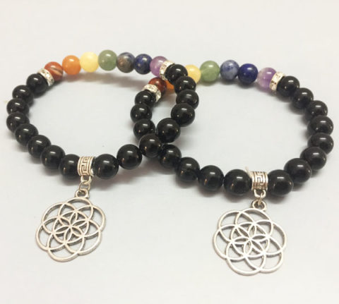 Chakra-Stones-Black-Obsidian-Bracelet-With-Flower-Of-Life