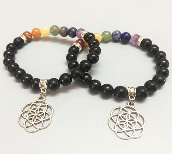 Chakra-Stones-Black-Obsidian-Bracelet-With-Flower-Of-Life
