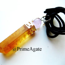 Citrine-2PC-Pendant-With-Amethyst-Ball-And-Black Cord